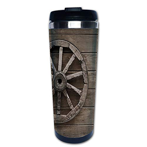 Stainless Steel Insulated Coffee Travel Mug,Aged Carriage Vehicle Wheel on the Wall of Barn,Spill Proof Flip Lid Insulated Coffee cup Keeps Hot or Cold 13.6oz(400 ml) Customizable printing