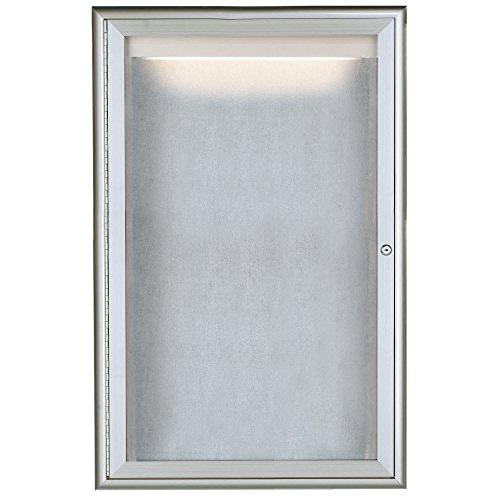 TableTop King LOWFC3624 36'' x 24'' Silver Enclosed Aluminum Indoor / Outdoor Bulletin Board with Waterfall Style Frame and LED Lighting by TableTop King