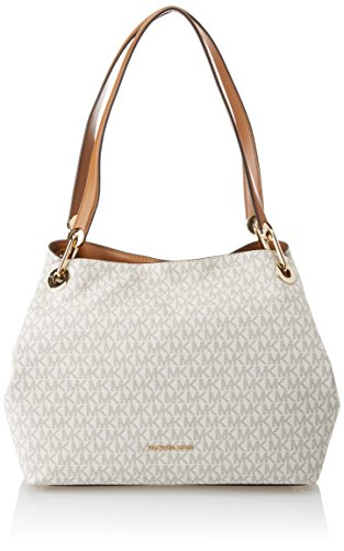 Michael Kors Raven Large Shoulder Tote (Signature Vanilla)