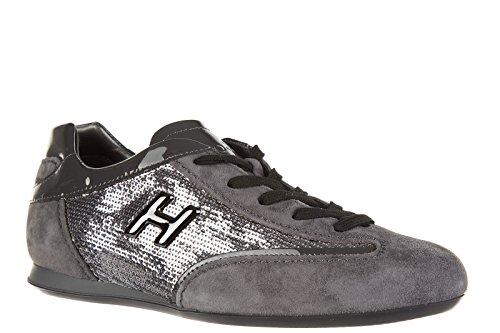 Hogan Zapatos Zapatillas de Deporte Mujer EN Ante Olympia h Metal Gris