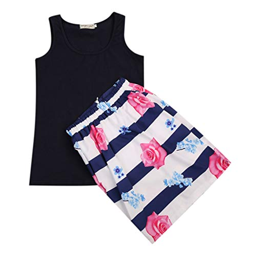 Mother and Daughter Girl Clothes Set Casual Summer Sleeveless Vest Striped Skirt Flower Matching Girls Clothing Outfits 2-3Y Navy Blue -