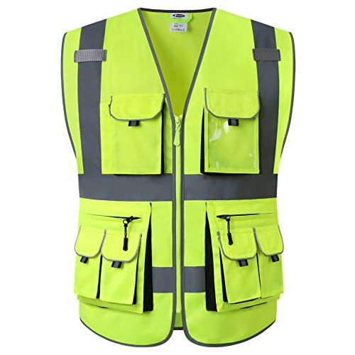 JKSafety 10 Pockets Class 2 High Visibility Zipper Front Safety Vest Yellow with High Reflective Strips Meets ANSI/ISEA…
