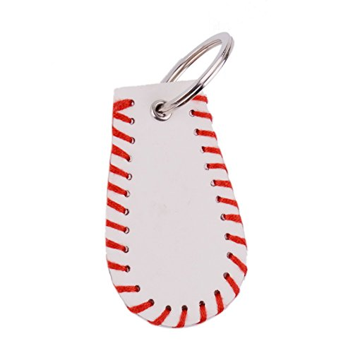 L&N Rainbery Leather Sports Key Chain Baseball Stitch Keychain Accessories 2 Pairs Pack