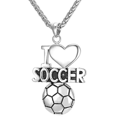 U7 I Love Soccer Ball Pendant Necklace Stainless Steel Boys Gift Sport Fan Team Group Building Jewelry ()