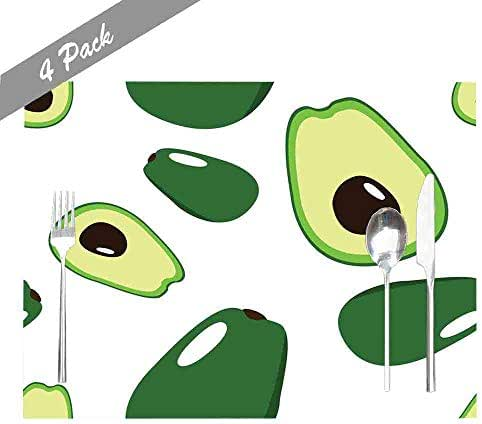 Shorping Place Mats for Kitchen Table, Childrens Place Mats Non Slip Washable Reusable Placemats Set of 4 18X12 Inch Indoor Outdoor Holiday Thanksgiving Christmas Placemat Avocado Pattern