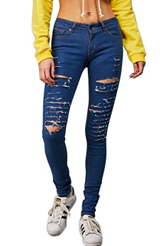 Wash Damage Donna Dark Skinny Criminal Jeans 7aqnnX