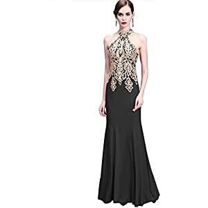 Erosebridal Womens Long Lace High Neck Prom Dresses Sexy Keyhole Cut Evening Gowns