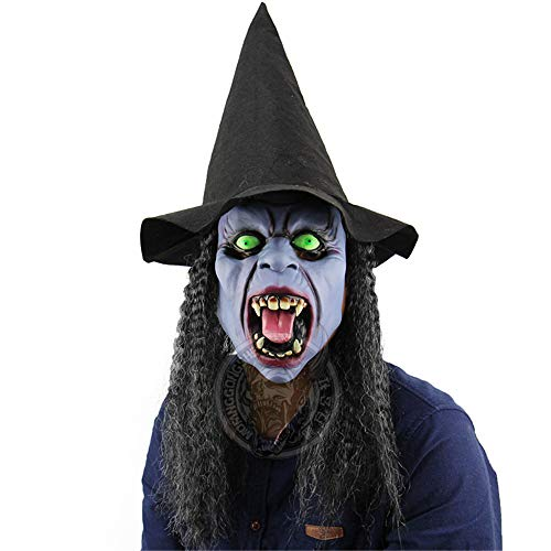 Black Long Hat Green Eyes Horror Ladies Kids Fangs Dark Night Witch Halloween Mask Costume, Halloween Bar Haunted House Dance Props, Horror Ghost Mask, One More Halloween Mask