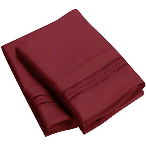 Mellanni Luxury Pillowcase Set Brushed Microfiber 1800 Bedding - Wrinkle, Fade, Stain Resistant - Hypoallergenic (Set of 2 King Size, Burgundy)