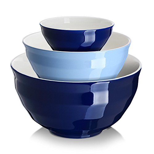 DOWAN Ceramic Mixing Bowls, Serving Bowl Set, Non Slip and Beautiful Outer Design, 0.5 Quart 2 Quart 4.25 Quart, Cooking Supplies, Blue