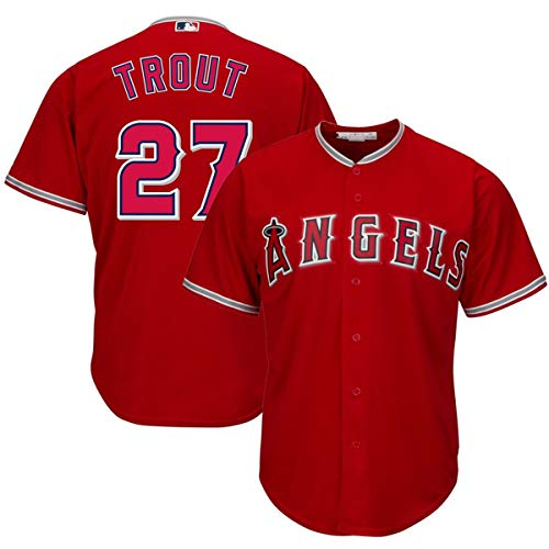 (VF LSG Men's #27 Mike Trout Los Angeles Angels Cool Base Player Jersey Red )