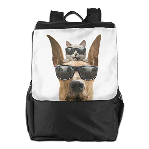 Cats Animals Dogs Funny Sungla Unisex Casual Hiking Travel Daypack, Casual Daypack Sport Outdoor Travel Shoulders Bag, College Computer Backpacks 18.9