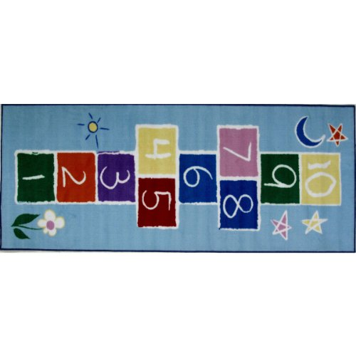 Primary Hopscotch Rug (FindingKing Primary Hopscotch Area Rug 30