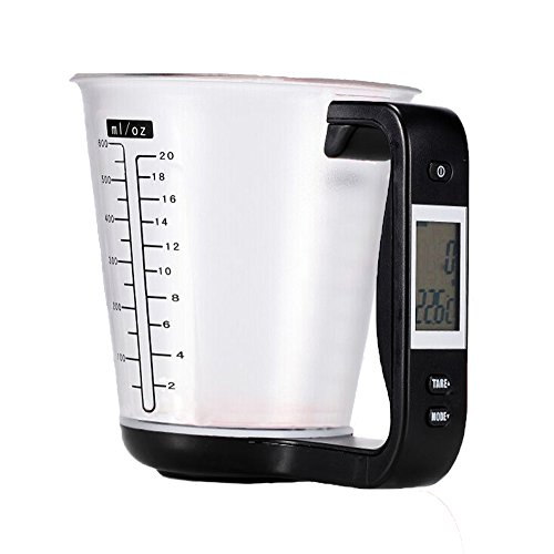 YYGIFT Digital Measuring Cups Scale Cups with LCD Display Kitchen Food Volume Weight Measurement Tool - Black