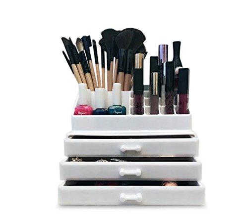 Oi Labelstm bianco acrilico make-up/cosmetico/gioielleria/nail polish organizzatore espositore (con alto grado 3mm acrilico). Confezione regalo.