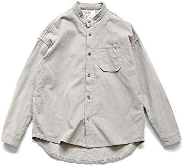 RSL Cuello de Pana Informal Camisa de Color sólido Delgado de la Camisa Marea jóvenes de Corea del Original de Primavera y otoño los Hombres japoneses (Color : Light Gray, Size :