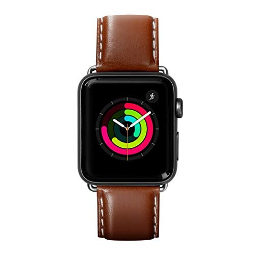 LAUT | Oxford Watch Strap for Apple Watch Series 1/2/3/4 | Silky Smooth Nappa Genuine Leather | Stainless Steel Clasp & Connectors (42mm / 44mm • Tobacco)
