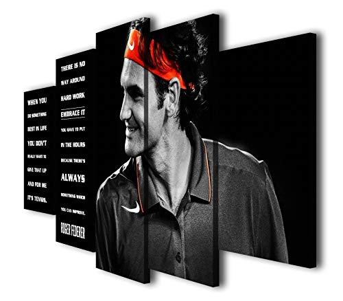 Susu Art - 5 Panels Roger Federer Tennis Motivation Canvas Quotes Giclee Print Painting Picture Wall WPAP Pop Art Home Decor Gifts (with Framed, Size 1: 8x14inx2pcs, 8x18inx2pcs, 8x22inx1pc)