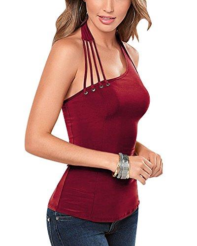 LAMEZI LANISEN Women's Summer Sexy Halter Neck Sleeveless Irregular Party Tank Top Wine Red S (Holiday Red Top Shirt)