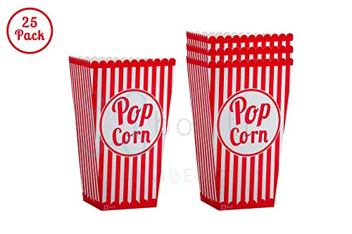 Striped Movie Theater Popcorn Bags - 25 Pack Paper Red Popcorn Boxes - Retro Box Pop Corn Design Candy Container Party Food Favor for Birthdays and Carnival Parties -