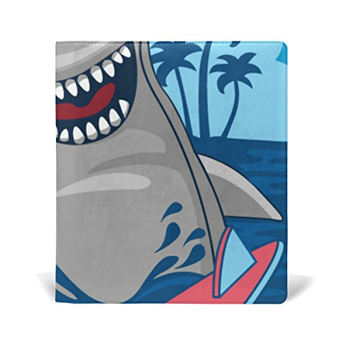 Reusable Leather Book Cover Cute Hammerhead Shark Durable School Book Protector Fits up to 9x11 inch