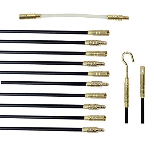 Cable Access Kit - 33-Feet Pro-Grade Fiberglass Rod Wire Cable Fishing Push-Pull Kit - Ten 39