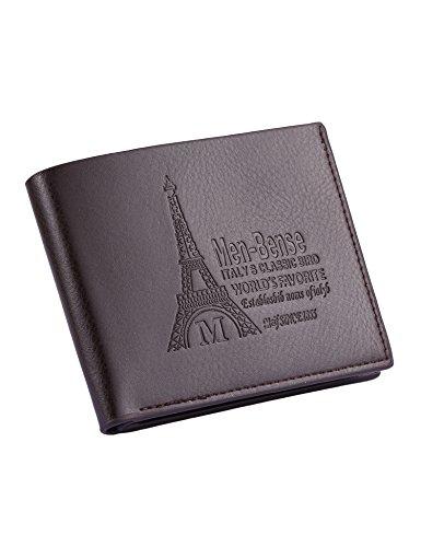 Loveje Mens Boys Fashion Wallets Classic Leather Pockets Print Thin Short Bifold Open Bifold Multi-card Purse (01 Dark - Bi Fold Classic