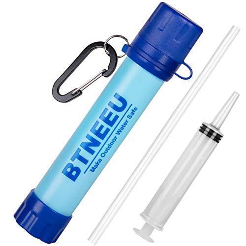 BTNEEU Filtro de Agua Portatil 1500L Filtro Agua Personal 0.01 Micron, Elimina 99.99% de Bacterias y Protozoos, Purificador de Agua Emergencia para Campamento Acampada Montana y Supervivencia