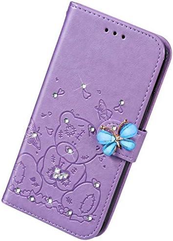 Uposao Kompatibel mit Samsung Galaxy S9 Hülle Leder Schutzhülle Klapphülle Ledertasche Glitzer Diamant Strass Bling Blumen Bär Muster Flip Case Brieftasche Handyhülle Kartenfächer,Lila