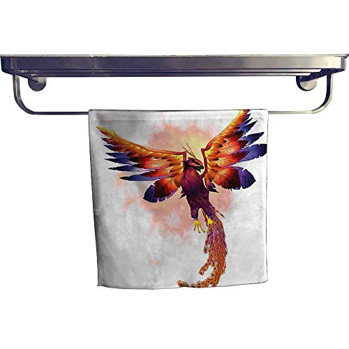 HoBeauty home Quick-Dry Towels,The Phoenix Firebird with Large Wings Illustration Mythical Symbol Print Orange and Blue,Microfiber Towel W 10