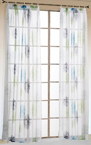 LivebyCare 1 Pcs Abstract Art Print Sheer Window Panel Curtain Drapery Treatment Hook Top Voil Drape Room Divider Partition Decorative Vanlance Pelmet for Dinning Room Decorative