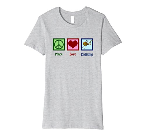 Womens Cute Peace Love Knitting T-Shirt Large Heather Grey (Peace Love Knitting)