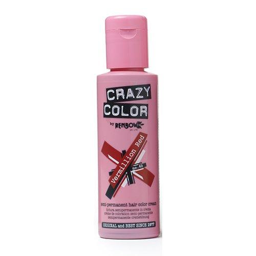🥇 Renbow Crazy Color Color de cabello Crema Coloración Semi-permanente 40 Vermillion Rojo – 100 ml