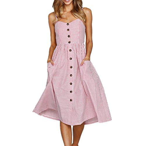 ZOEREA Women's Midi Dress Sundresses for Women Floral Prints Summer Clothing for Women (X-Large, Pink) -