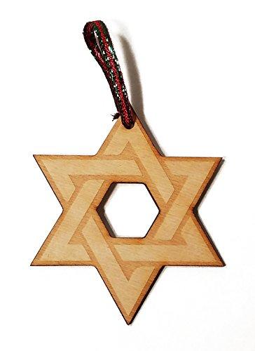Star of David Hanukkah Jewish Laser Engraved Wooden Christmas Tree Ornament Gift Seasonal Decoration