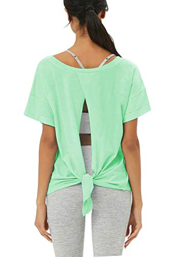 - Mippo Womens Activewear Cute Workout Tops Casual Open Back Yoga Tops Soft Cute Athletic Exercise Tops Backless Knot Lightweight Summer Gym Clothes Mint Green L
