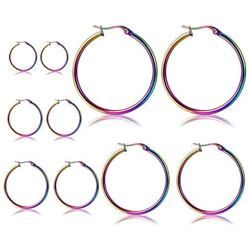 Orris Pack of 5 Different Sizes, Titanium Steel Rainbow Color Ear Hoop Earrings Set for Women Girls (From 1 to 7 cm)