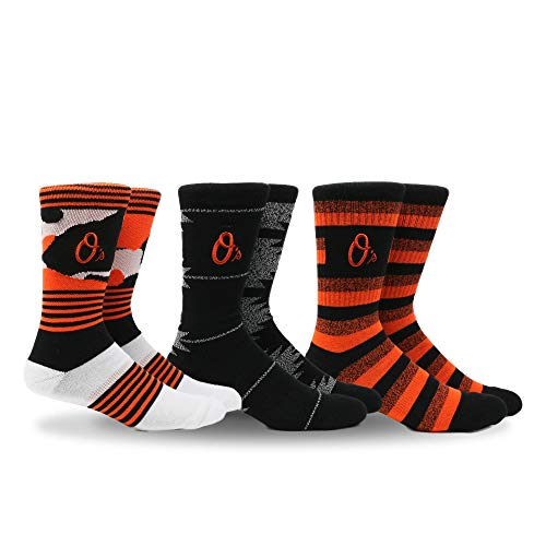 - PKWY by Stance MLB Men's Clubhouse Collection 3-Pack Socks (Large, Baltimore Orioles)