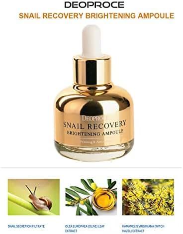 Korean Cosmetics Deoproce Snail Repair Brightening Serum and Anti-Wrinkle Skin Tightening and Whitening Improvement (Snail Brightening Serum)