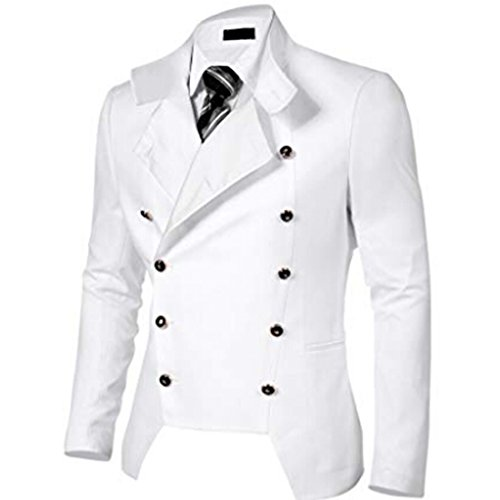 Dickin Men's Fashion Casual Stand Neck Double-Dreasted Slim Fit Blazer Jacket