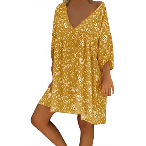 Plus Size Dresses for Women,Summer V Neck Print Caftan Baggy Mini Dress Ladies Vintage Hippie Boho Beach Cover Sundress Yellow -