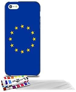 """Carcasa Flexible Ultra-Slim APPLE IPHONE 5 de exclusivo motivo [Bandera Unión Europea] [Gris] de MUZZANO  + 3 Pelliculas de Pantalla """"UltraClear"""" + ESTILETE y PAÑO MUZZANO REGALADOS - La Protección Antigolpes ULTIMA, ELEGANTE Y DURADERA para su APPLE IPHONE 5"""
