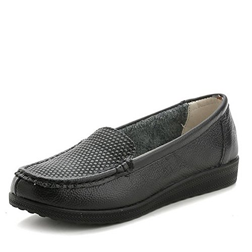 VogueZone009 Damen Blend-Materialien Rund Zehe Niedriger Absatz Ziehen auf Rein Pumps Schuhe Schwarz