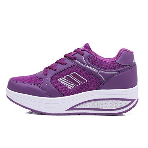 Light Walking Women's Shoes 8 Fitness Purple Heel Platform Solshine Go Athletic Running Wedge Weight 5pnqw