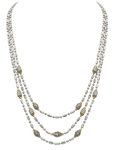 - John Medeiros Beaded Silver Gold Two Tone Station Necklace CZ Pavè Style Triple Strand 16