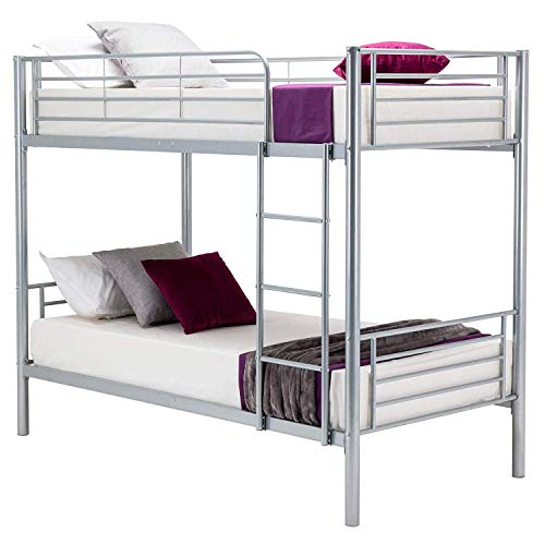 Mecor Twin Metal Bunk Beds-Twin Over Twin Bunk Bed Frame-for Kids/Teens/Adults/Children-Bedroom Furniture with Ladder,Undetachable/Silver Grey