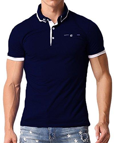 Stretch Polo Tops - MODCHOK Men's Polo Shirt Short Sleeve T Shirts Cotton Tee Button Slim Fit Tops Navy1 L
