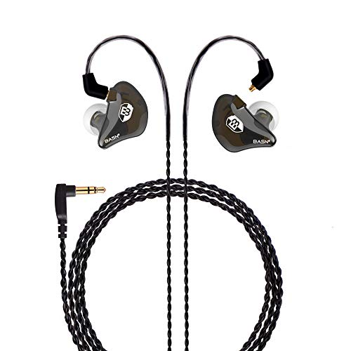 BASN in Ear Monitor Headphones Singer Earphones Noise-Isolating Comfort Earbud for Musicians (BC100 ClearBrown) (Best In Ear Monitors For Drummers)