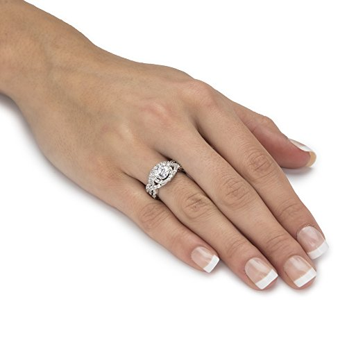 Platinum over Sterling Silver Round Cubic Zirconia Crossover Halo Bridal Ring Set Size 9