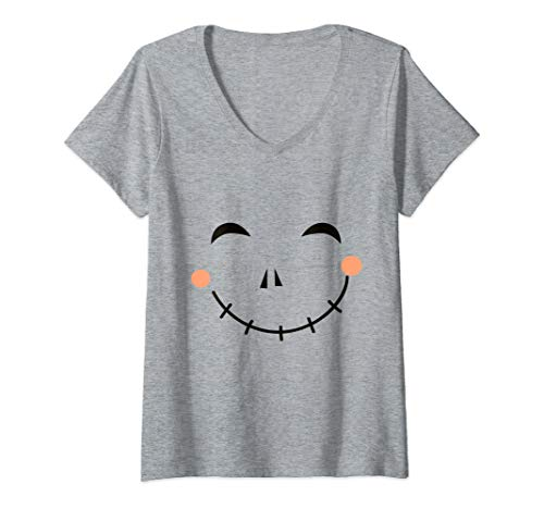 Womens Last Minute Happy Scarecrow Halloween Costume V-Neck T-Shirt -